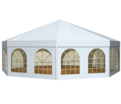 Highlight of the tent is the successful, optically conspicuous roof construction, which is realized either as a saddle roof or as a high-point membrane roof.